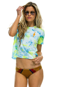 aviator nation bolt embroidery boyfriend tee tie dye neon yellow