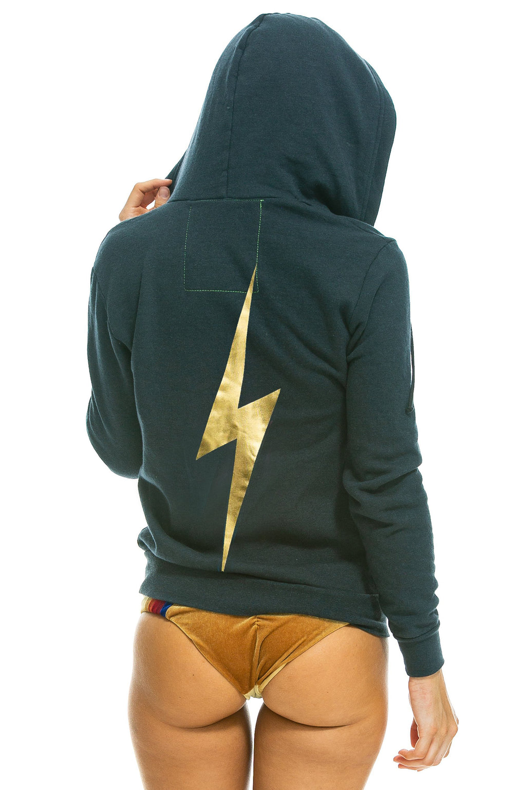 aviator nation bolt hoodie charcoal metallic gold