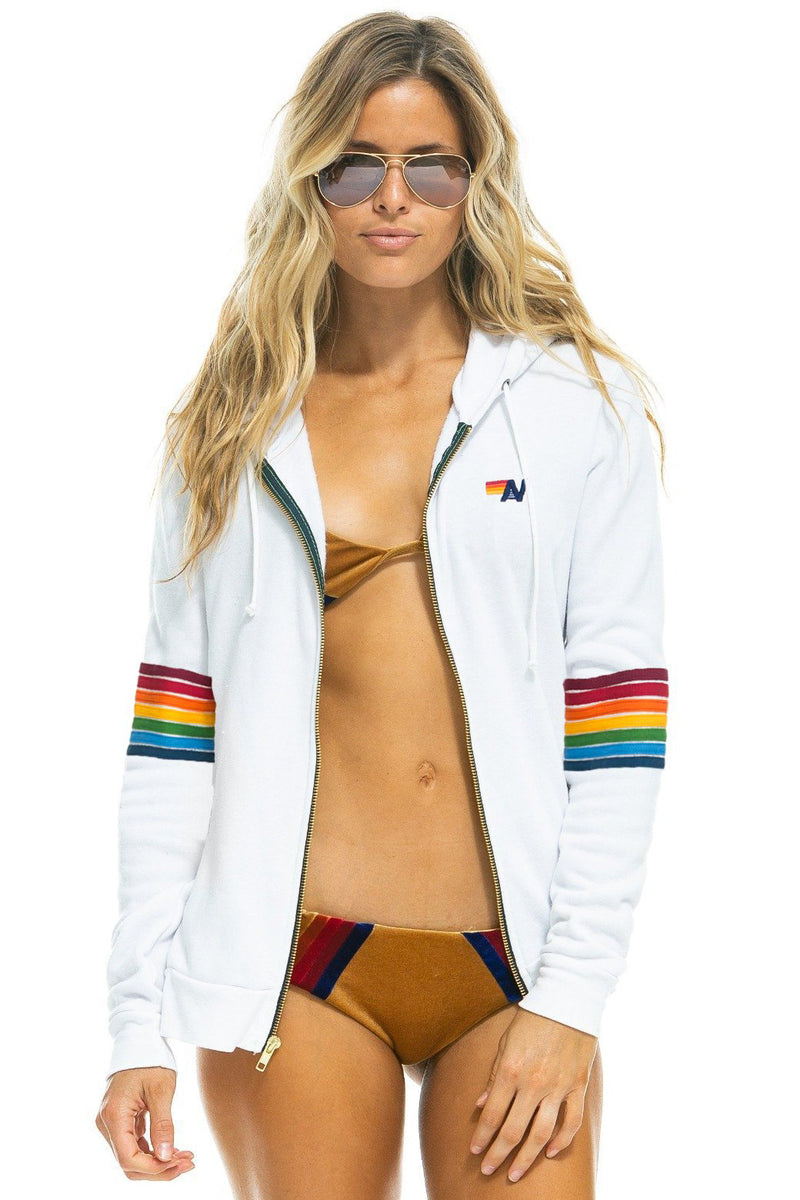 aviator nation rainbow stitch sleeve hoodie white