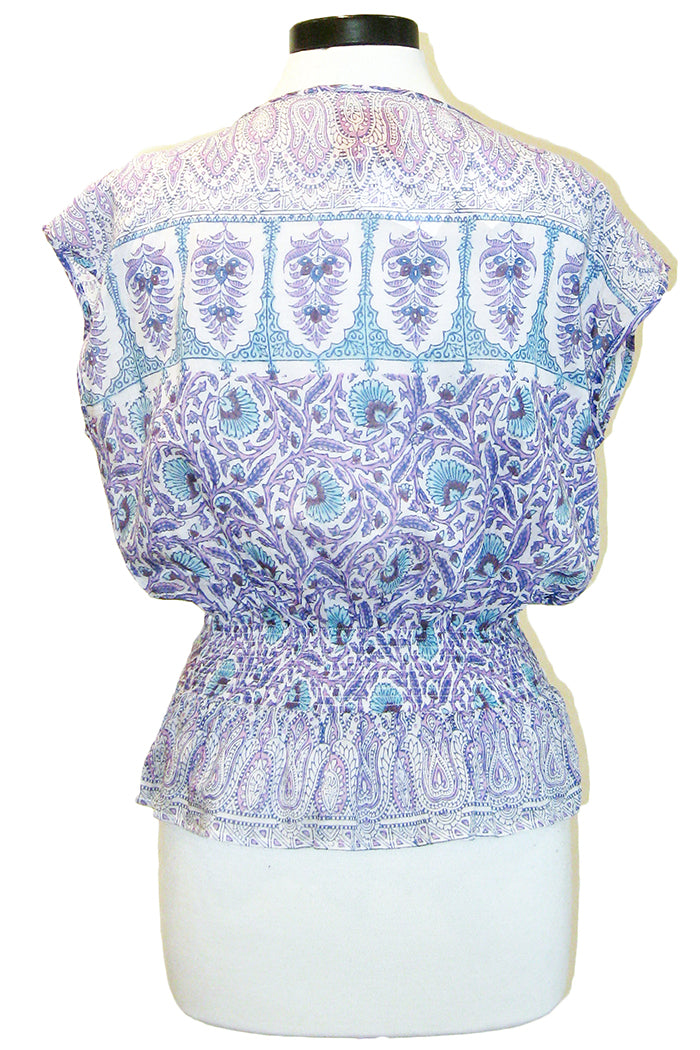 bell smocked waist blouse