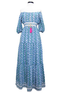 bell elle maxi dress blue green