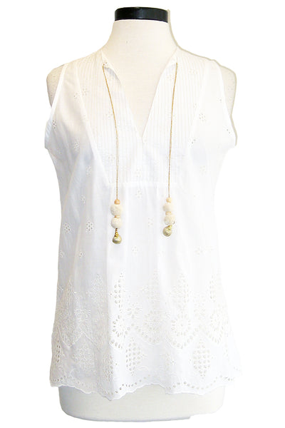 bell eyelet tunic tank with tassels