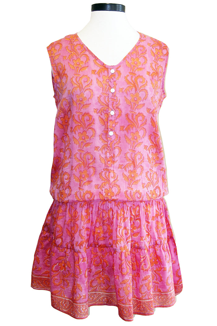 bell popover flounce dress pink orange
