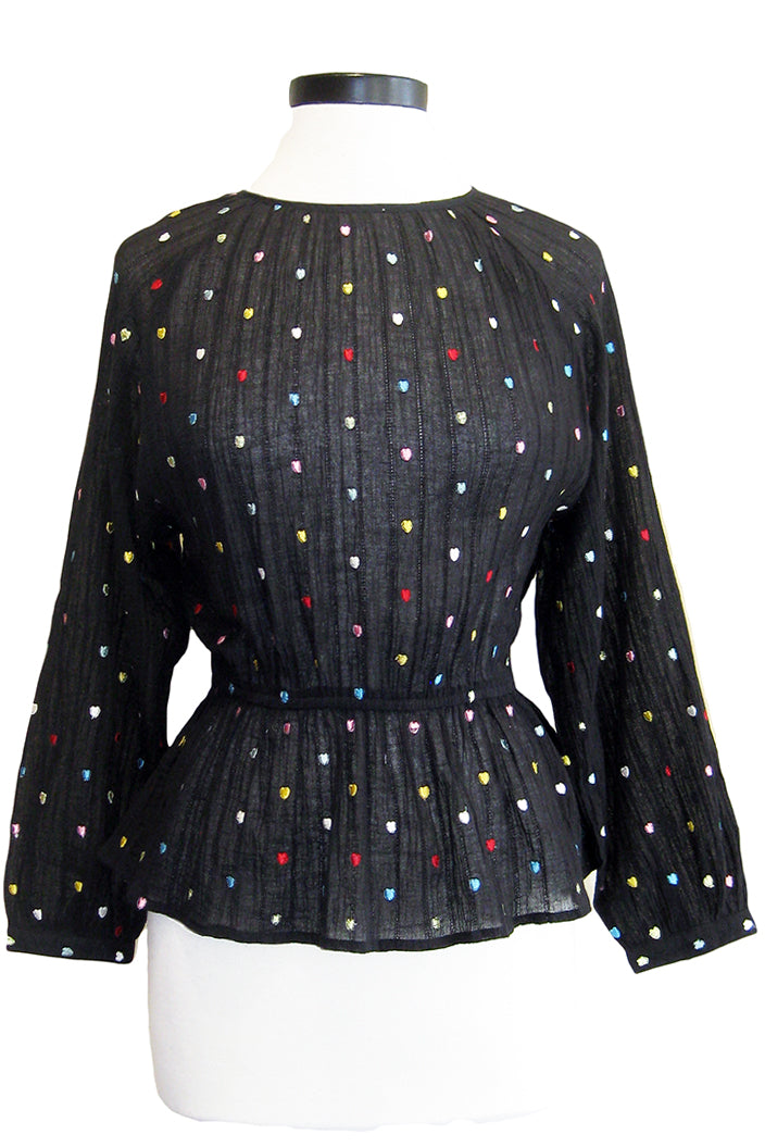 bell hearts blouse black