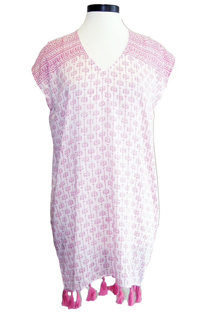 bell v-neck tunic dress pink