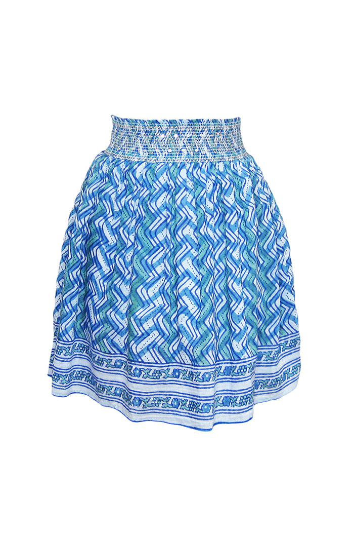 bell smocked skirt blue green