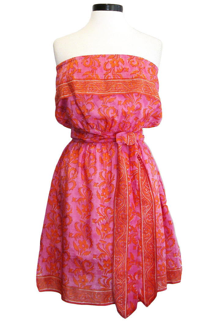 bell strapless dress pink orange