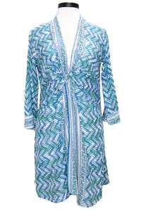 bell tie kimono dress blue green