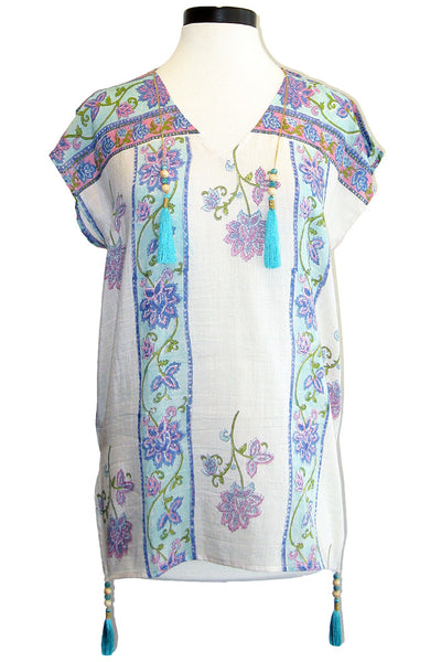 bell loose v-neck tunic with tassels blue purple