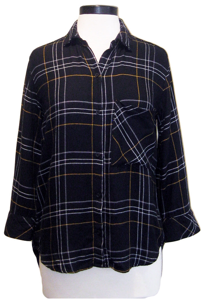 bella dahl 3/4 sleeve button down black