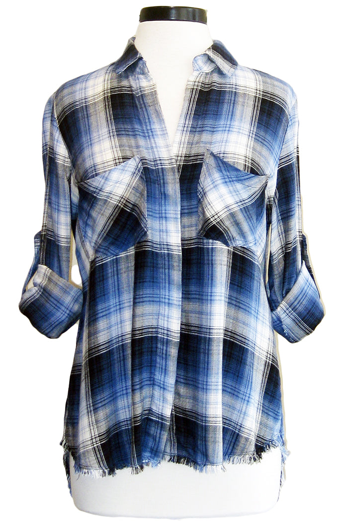 bella dahl fray hem split back ashton plaid