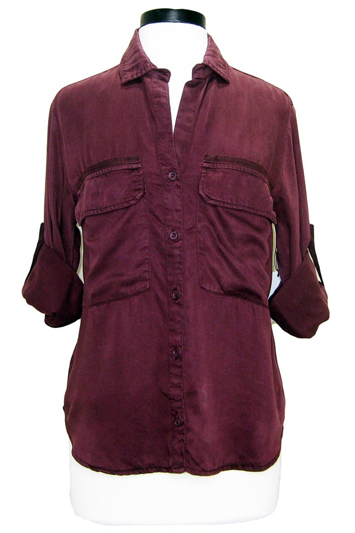 bella dahl patch pocket utility shirt merlot