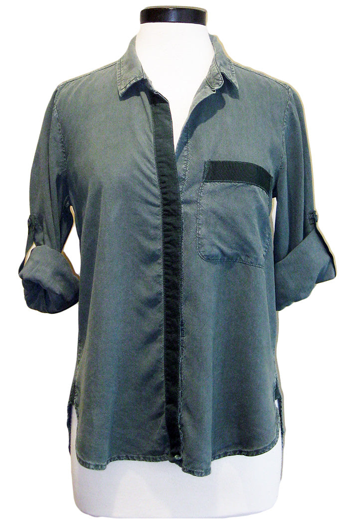 bella dahl ribbon trimmed button down shadowed pine