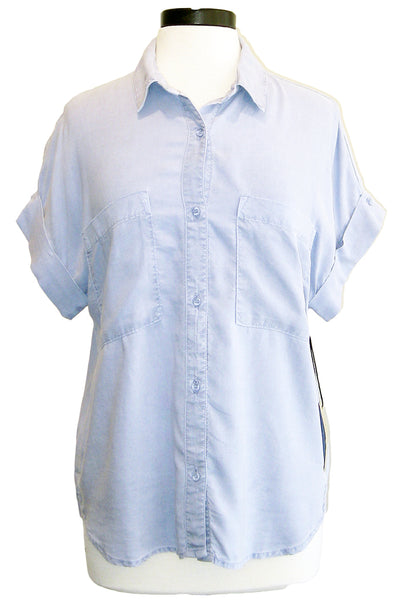 bella dahl rolled short sleeve button down harbor sky