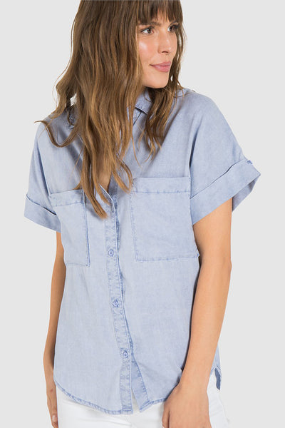 bella dahl rolled short sleeve button down