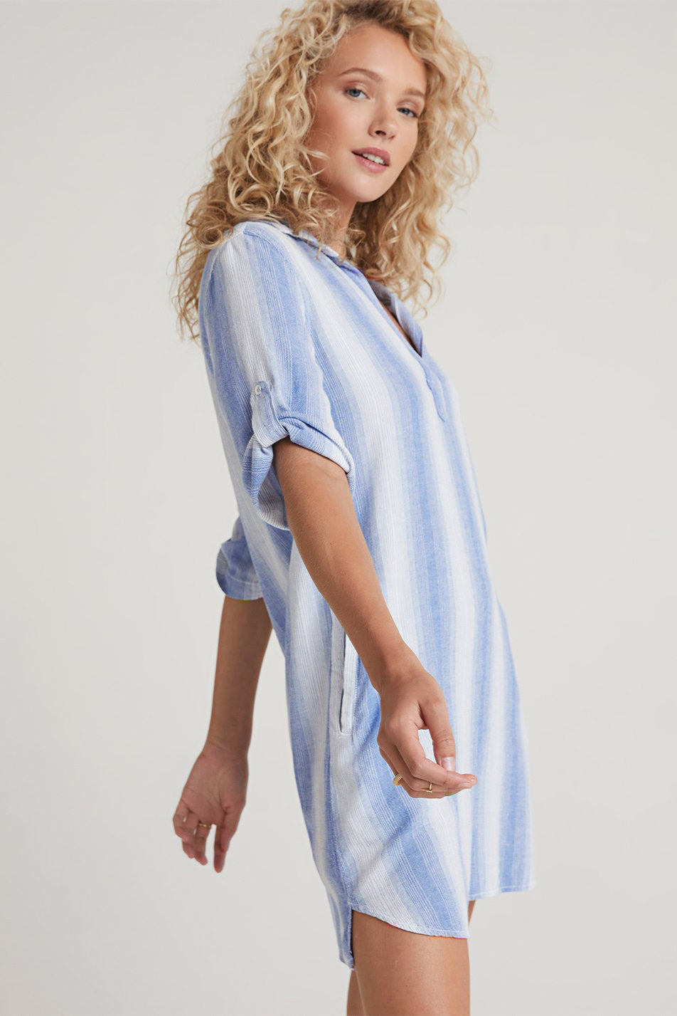bella dahl a-line shirt dress serene sea stripe