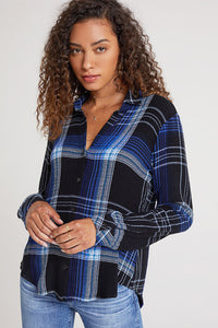 bella dahl flowy button down cobalt plaid