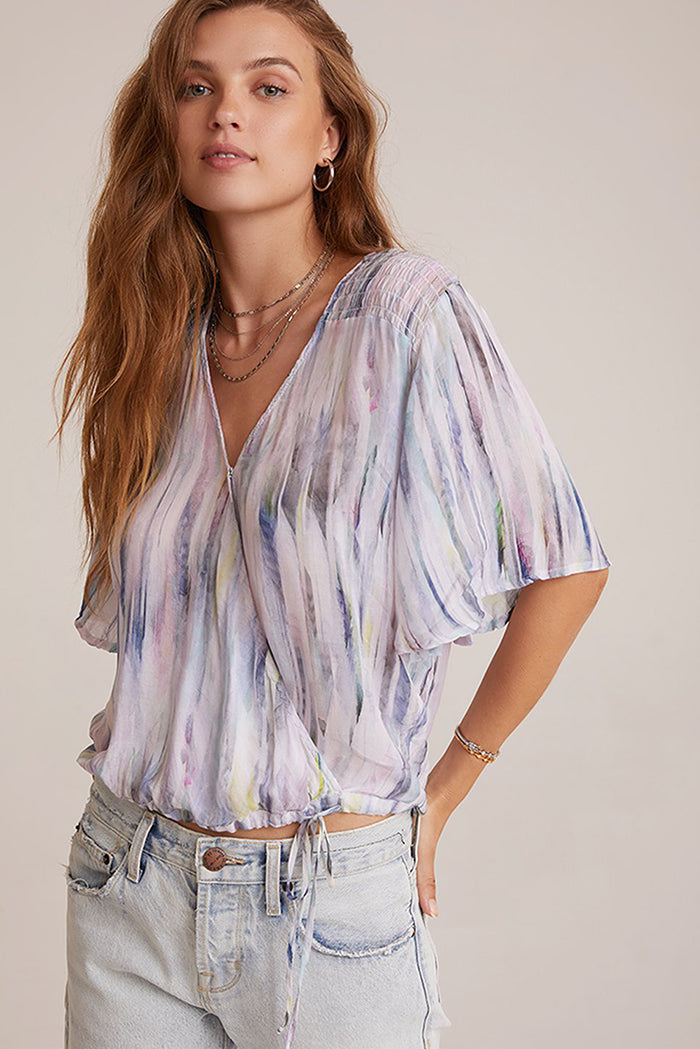 bella dahl flutter sleeve smocked top