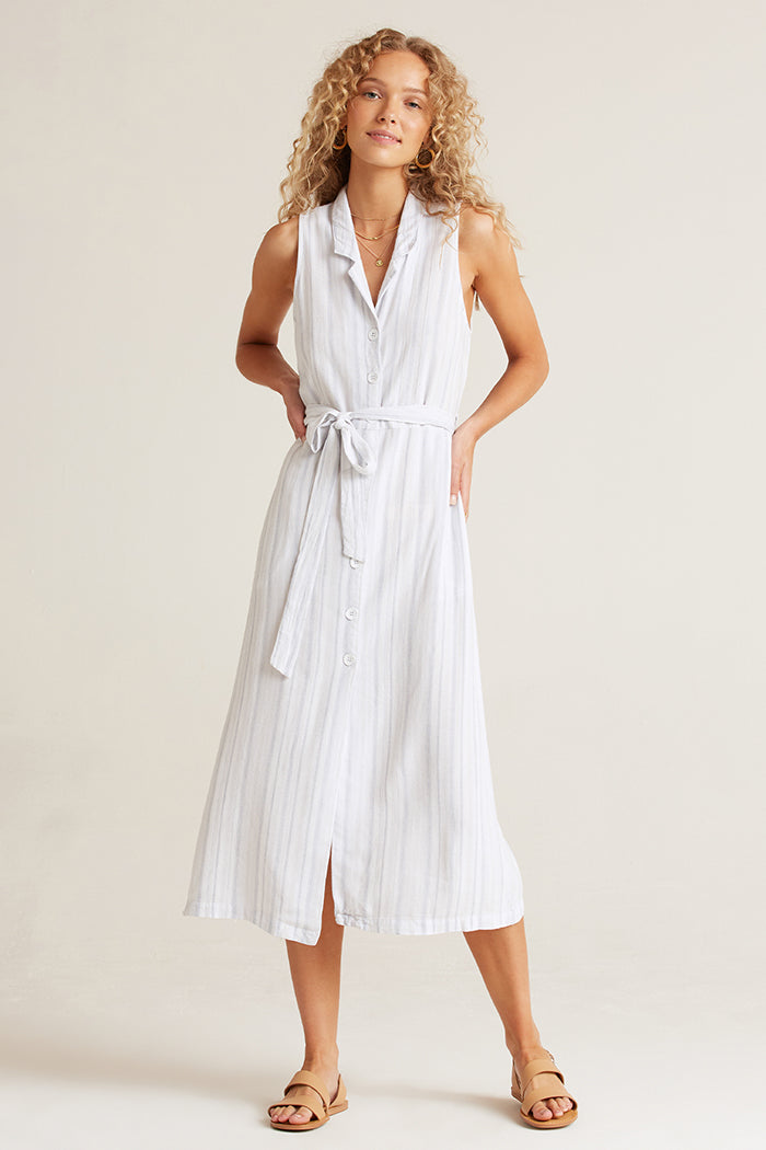 bella dahl sleeveless midi dress sky blue stripe