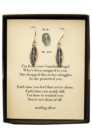 b.u. guardian angel feather earrings