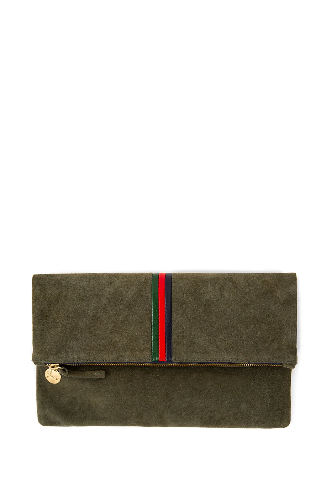 clare v. foldover clutch army suede