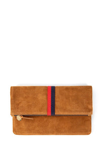clare v. foldover clutch camel with stripes