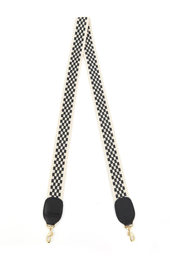 clare v. crossbody strap black cream checker