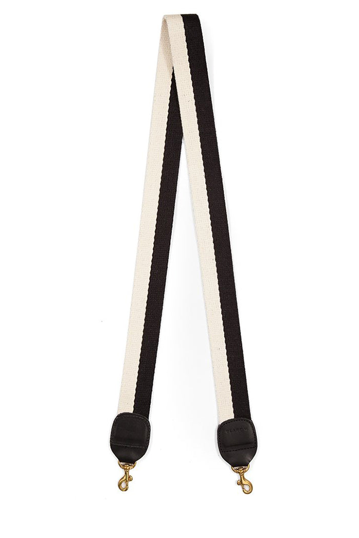 clare v. crossbody strap black white cotton