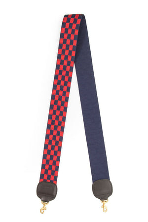 clare v. crossbody strap navy and red checker