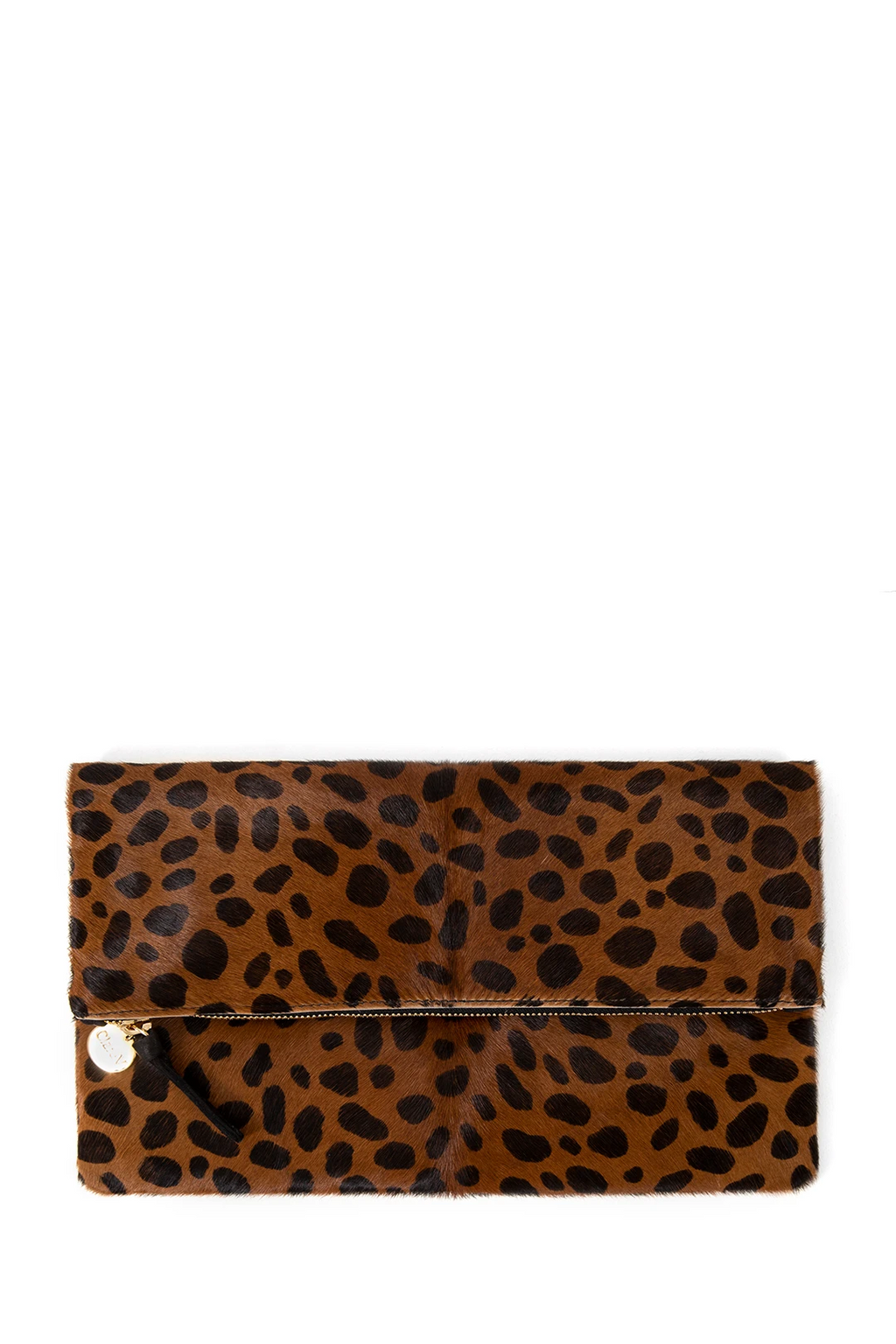 clare v. foldover clutch leopard hair