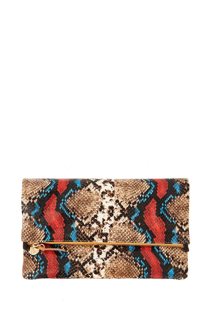clare v. foldover clutch with tabs garden snake