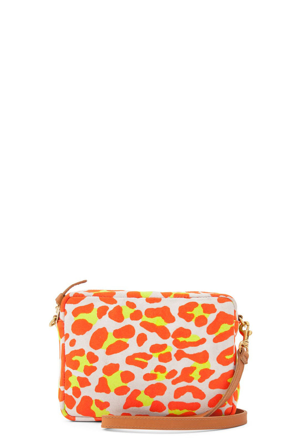clare v. midi sac neon orange cat suede