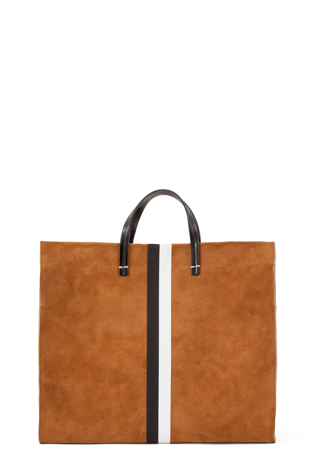 clare v. simple tote camel suede b/w stripes