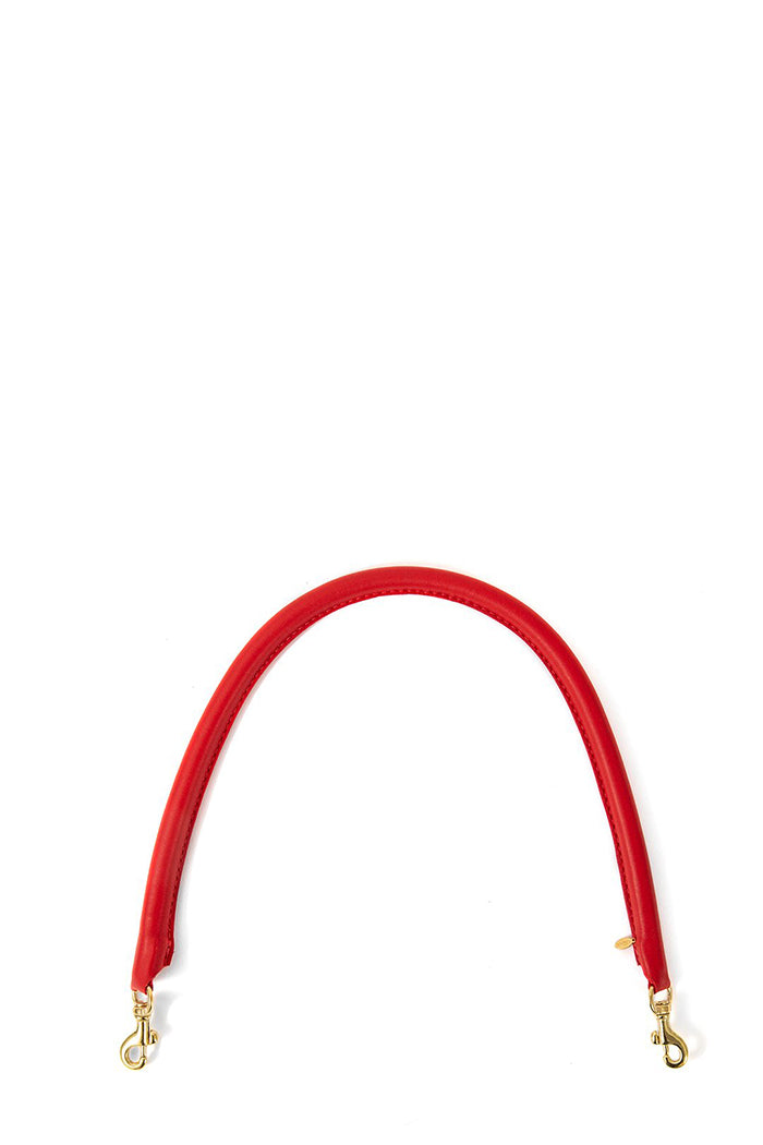 clare v. tubular shoulder strap cherry red leather