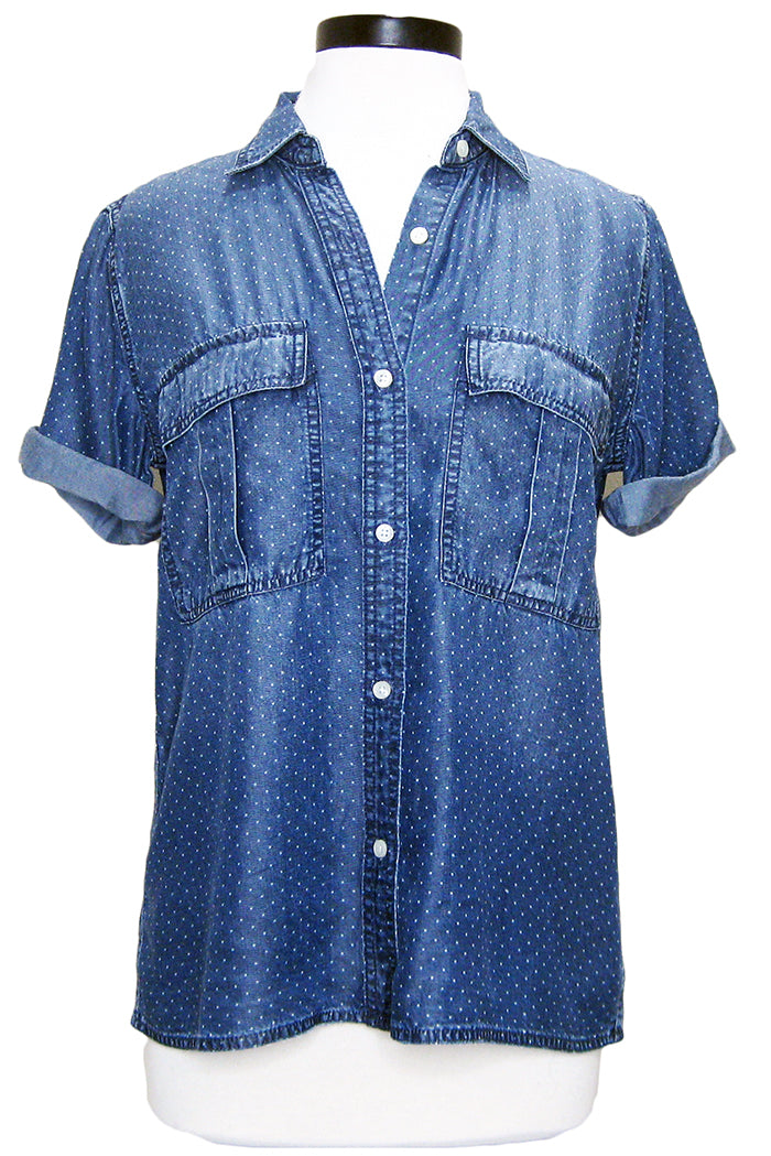 current/elliott the amabel shirt indigo polka dot