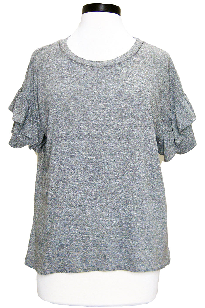 current/elliott the ruffle roadie tee heather grey