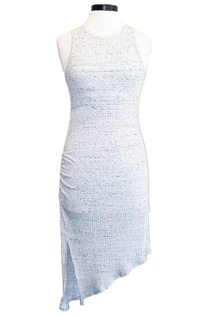 david lerner asymmetrical ruched dress light heather grey