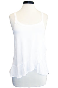david lerner ruffle tank white