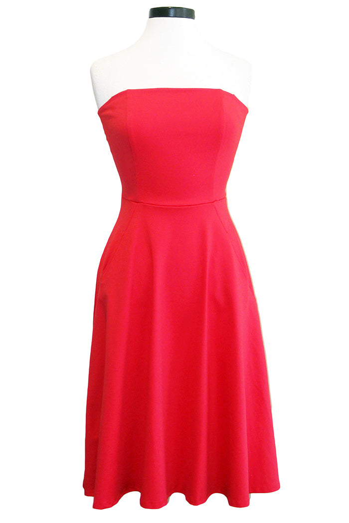 david lerner strapless midi dress poppy
