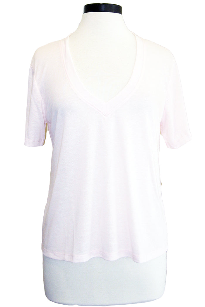 david lerner super deep v tee soft pink