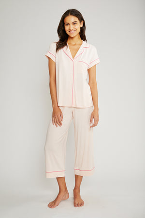 eberjey gisele short sleeve crop pj set bellini bright pink