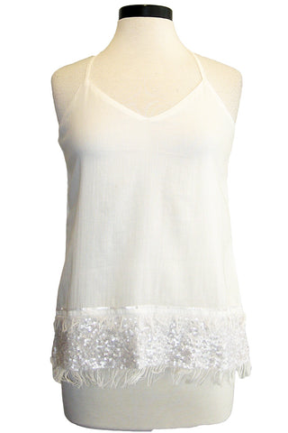 ecru tank with sequins