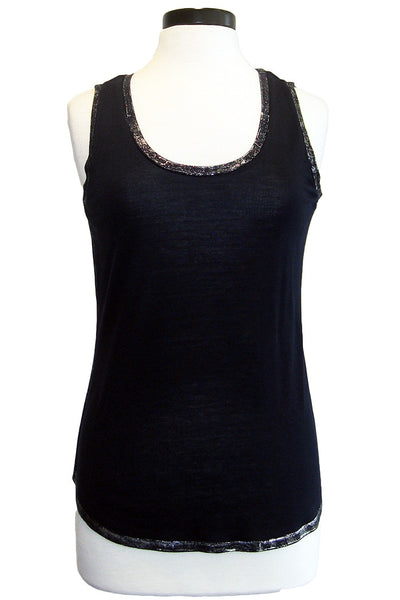 ecru tank with painted metallic trim navy