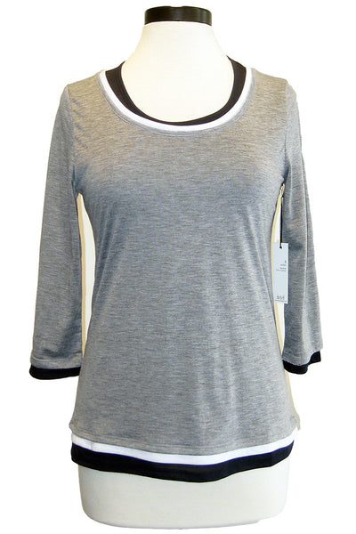 ecru triple layer tee heather grey