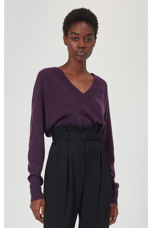 equipment madalene v-neck sweater plum perfect