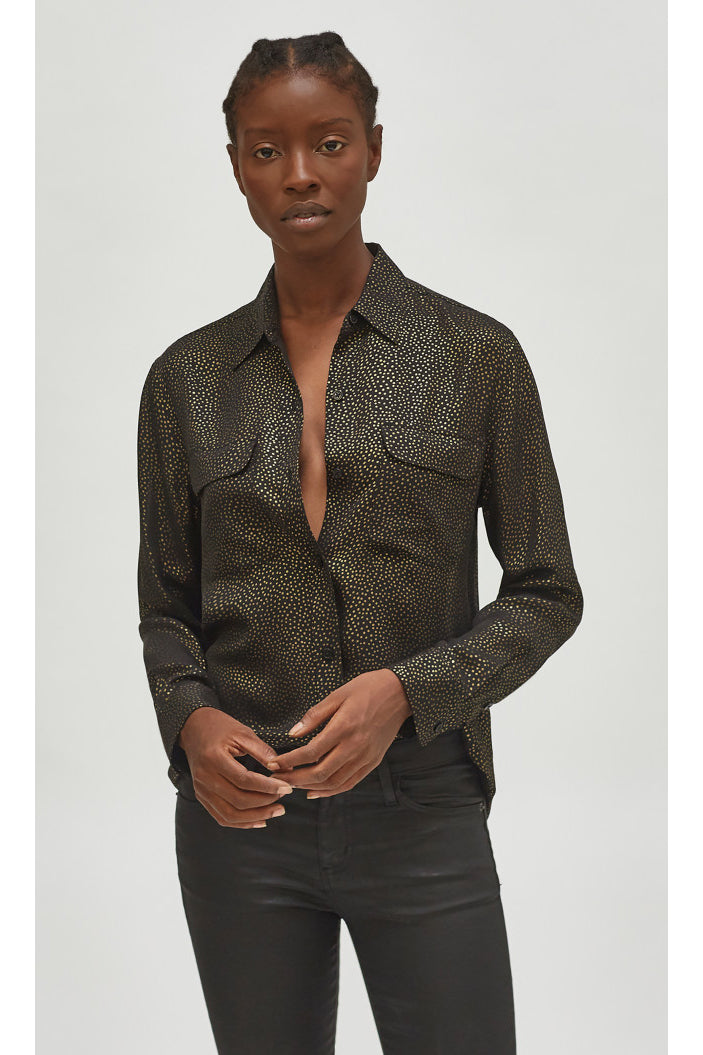 equipment signature silk shirt true black gold
