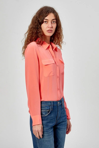equipment slim signature silk shirt melon