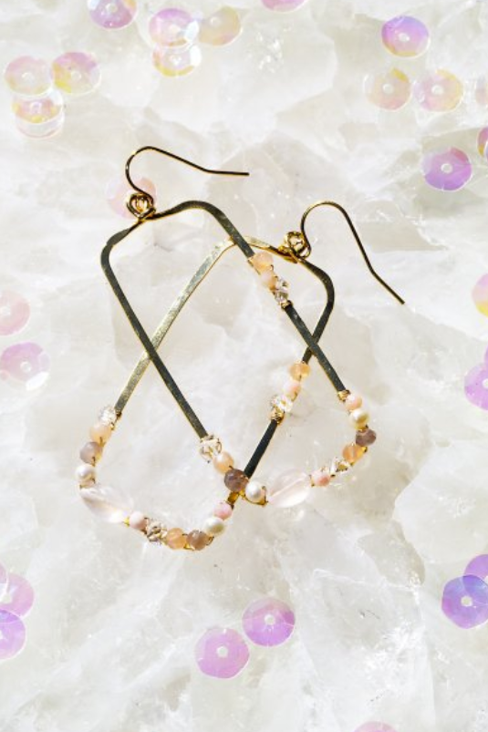 native gem fairydust rectangle earrings