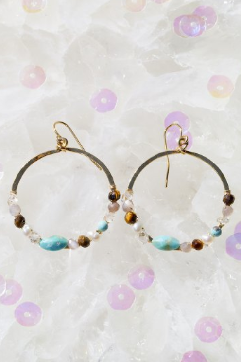 native gem fairydust circle earrings