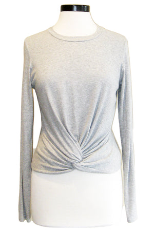 fifteen twenty crop twist top heather grey